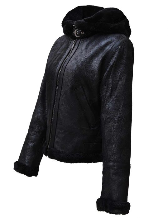womens-black-shearling-leather-hooded-jacket