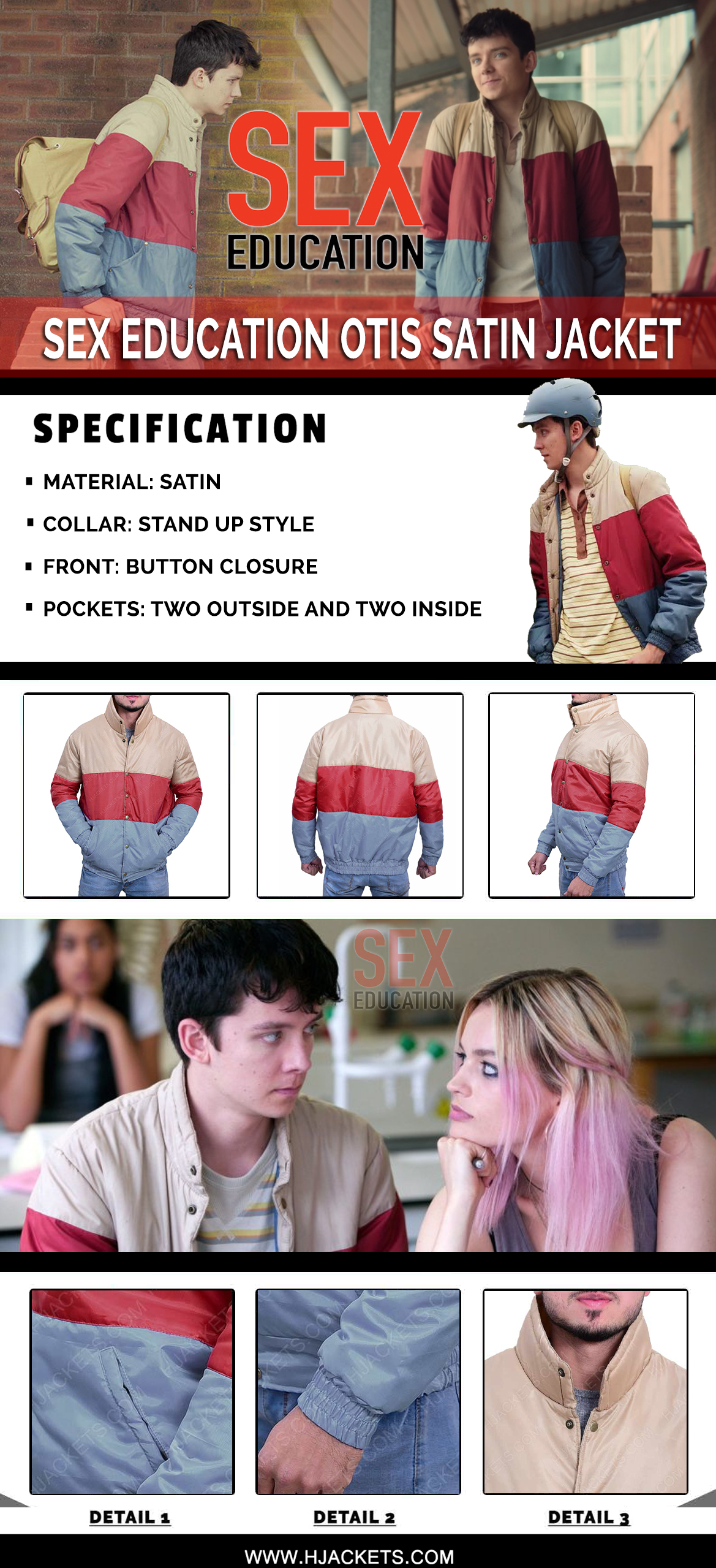 sex education otis jacket infographic