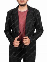 good omens crowley black wool jacket