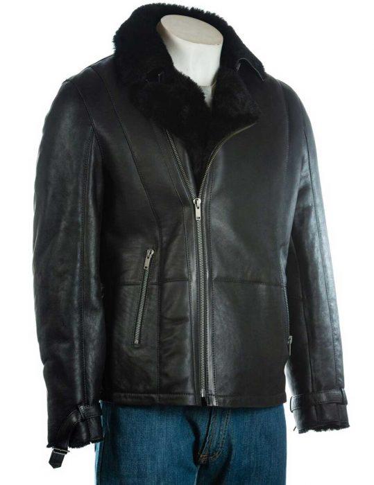 mens-black-leather-shearling-sheepskin-jacket
