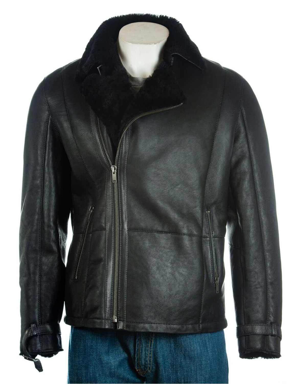 621fd479dc2 Men s Black Sheepskin Shearling Biker Leather Jacket