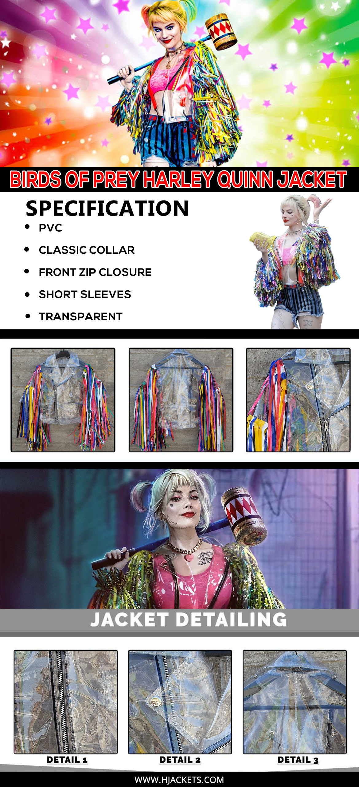 Birds Of Prey Harley Quinn Jacket Infographic