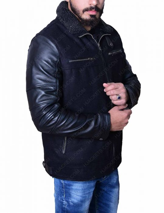 mens-wool-black-leather-jacket