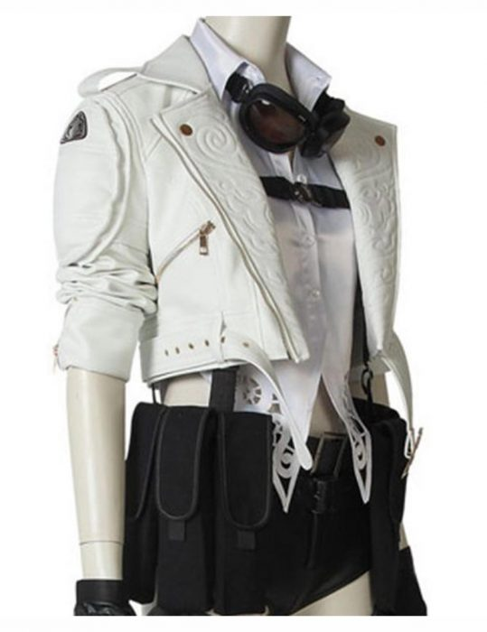 Devil May Cry 5 Lady White Motorcycle Leather Jacket