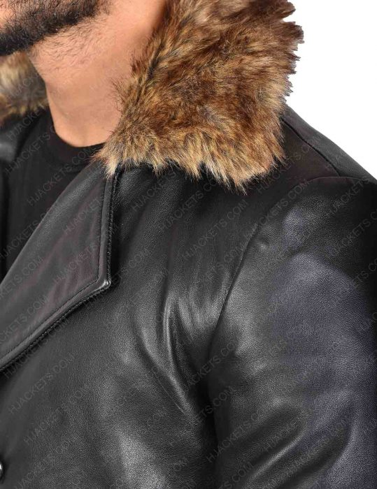 Doctor Sivana Leather Fur Collar Coat by Shazam