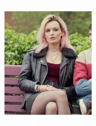 Sex Education Maeve Wiley Black Leather Jacket