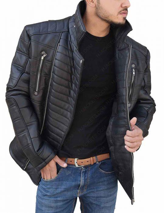 Trevor 'Viking' Calcote Cold Pursuit Tom Bateman Black Leather Jacket