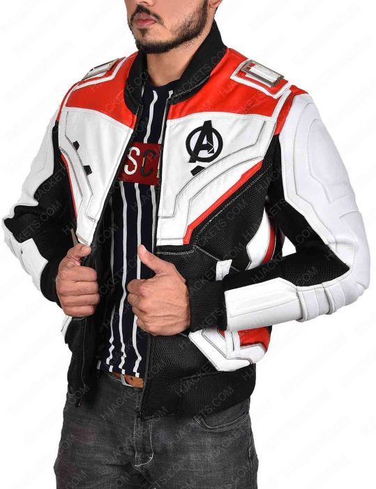 avengers endgame white faux leather jacket