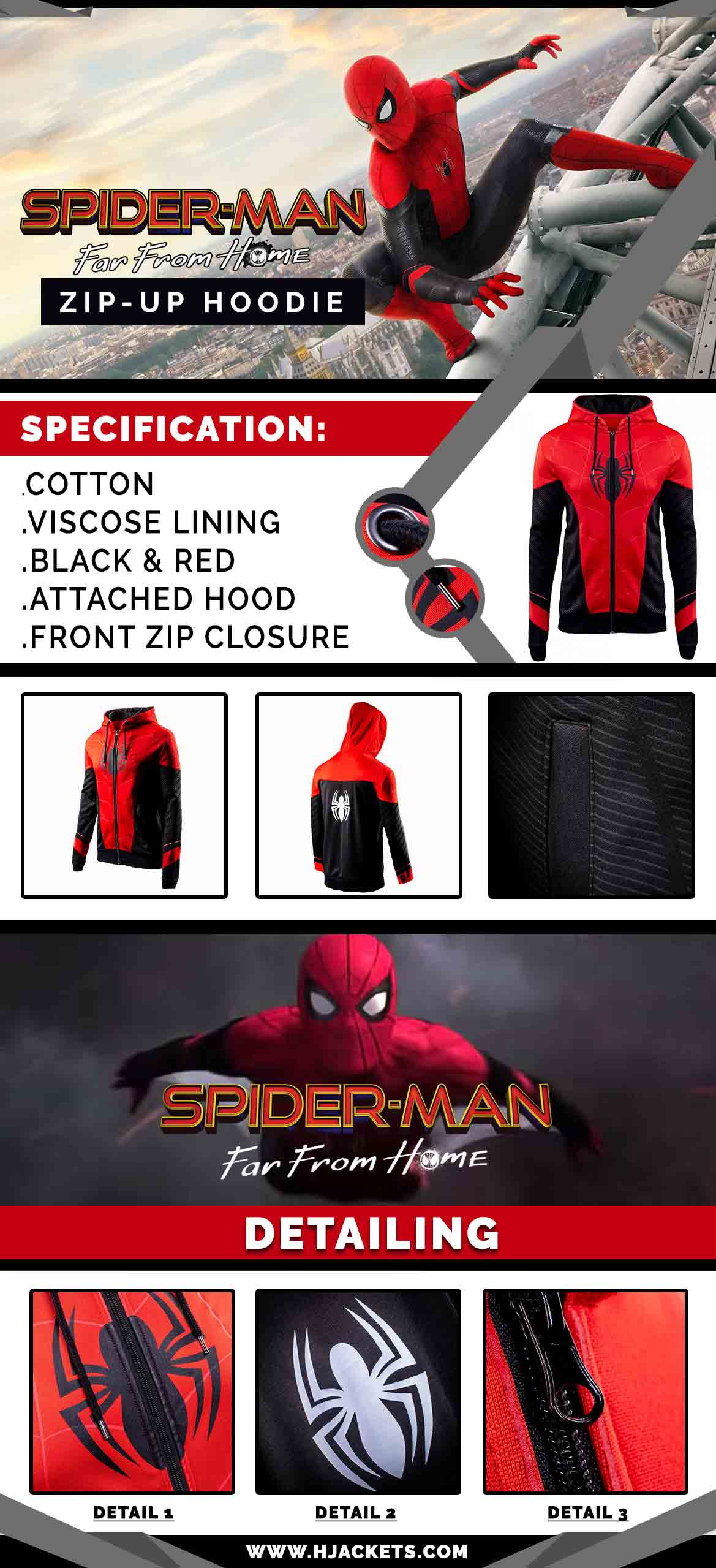 Spiderman Far From Home Hoodie Infographic