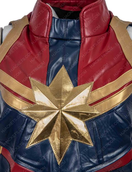 captain marvel red and blue leather vest