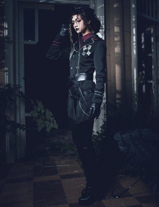 military lolita black cotton coat
