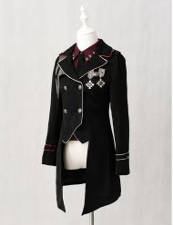 military lolita black cotton coats