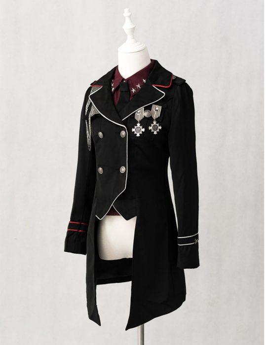 military lolita black cotton coats