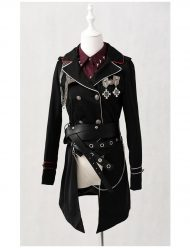 military lolita black cotton stylish coat