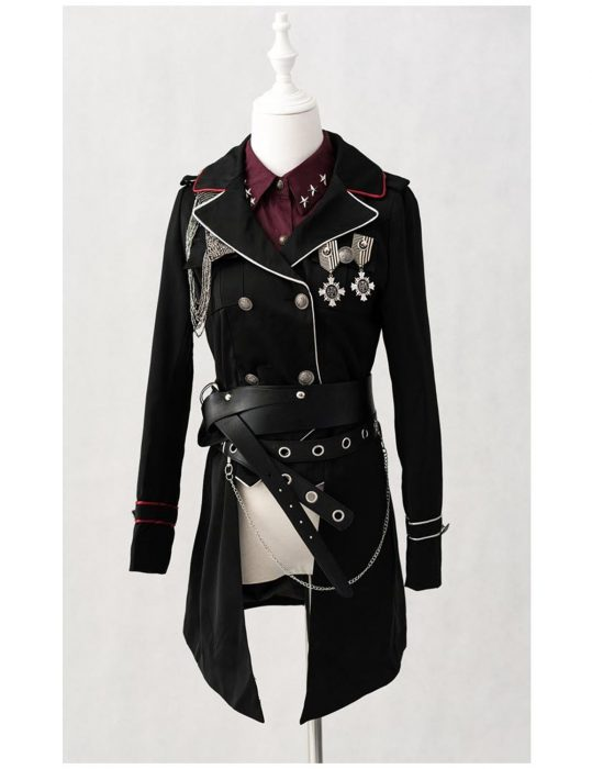 military lolita black cotton stylish coat