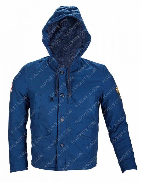 Stranger Things Jim Hopper David Harbour Blue Shearling Jacket