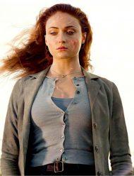 dark phoenix sophie turner grey cotton coat