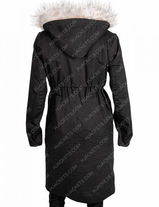 Killing Eve Eve Polastri Fur Collar Cotton Black Coat