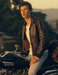 shawn mendes brown leather senorita jacket