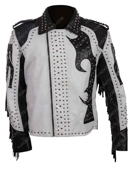 silver studded biker fringe leather jacket