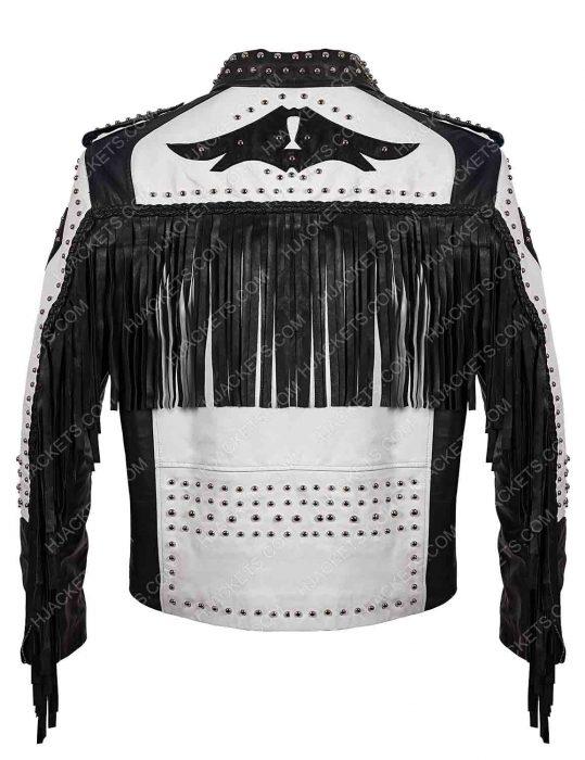 silver studded fringe biker jacket