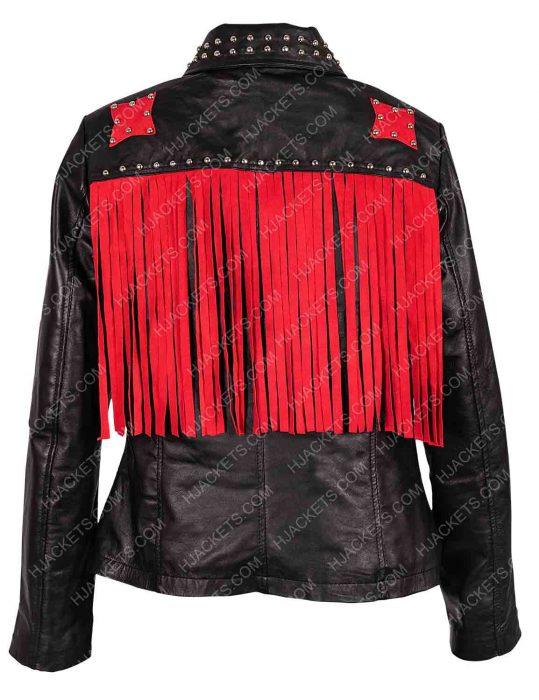 vox lux raffey cassidy studded black jacket