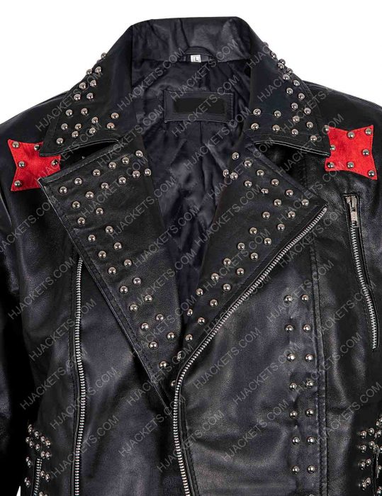 vox lux raffey cassidy studded black leather jacket