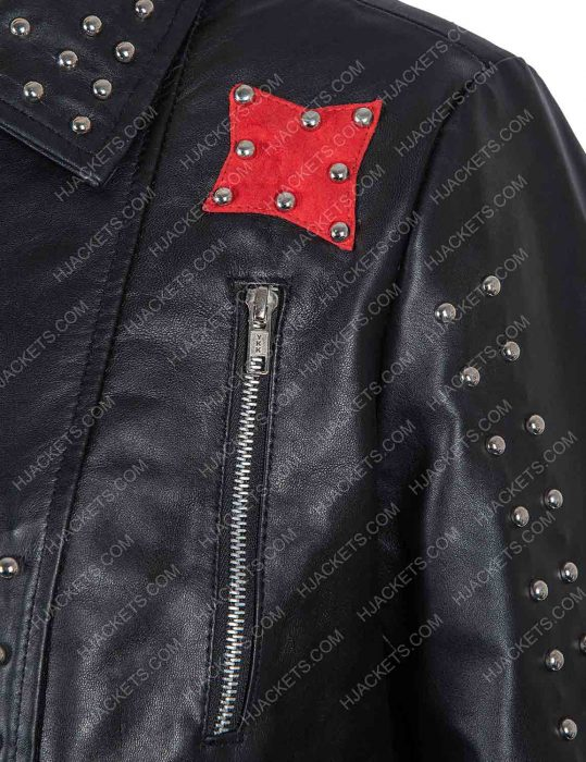 vox lux raffey cassidy studded leather fringe jacket