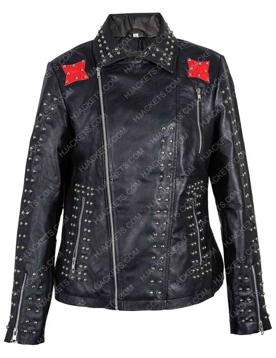 vox lux raffey cassidy studded red and black jacket