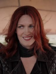 good omens mireille enos black leather jacket