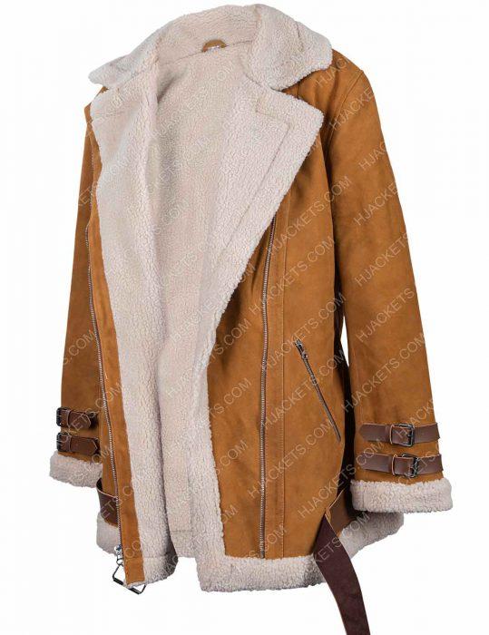 hailey baldwin velocite brown jacket