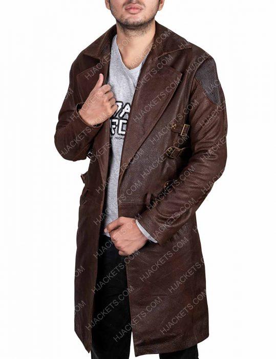 alita battle angel dr. dyson ido leather coat