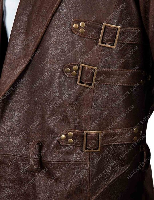 alita battle angel dr. dyson ido trench leather brown coat