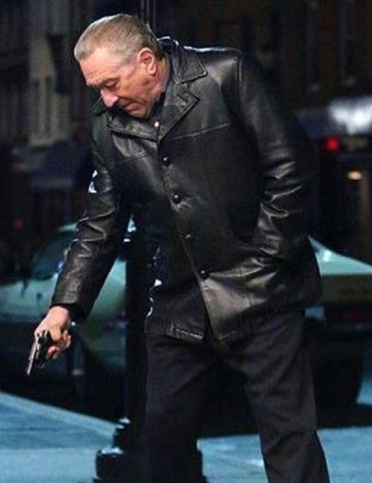 irishman frank sheeran black leather blazer jacket