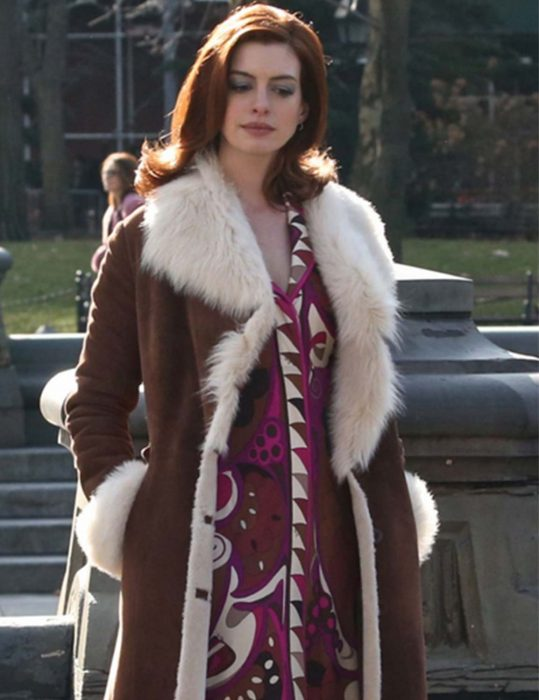 modern love anne hathaway shearling coat
