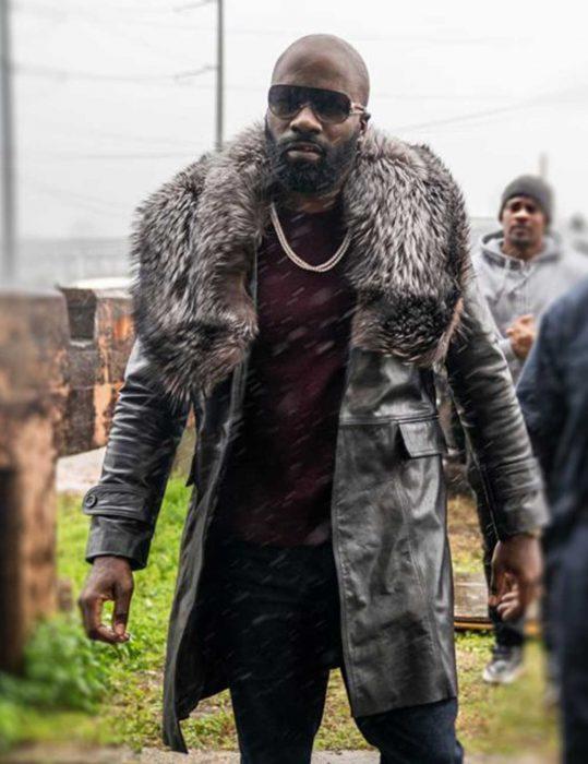 Black and Blue Darius Black Fur Coat