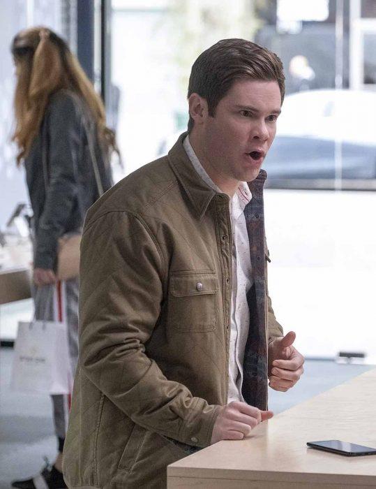 jexi adam devine brown jacket