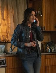 stumptown cobie smulders black leather jacket