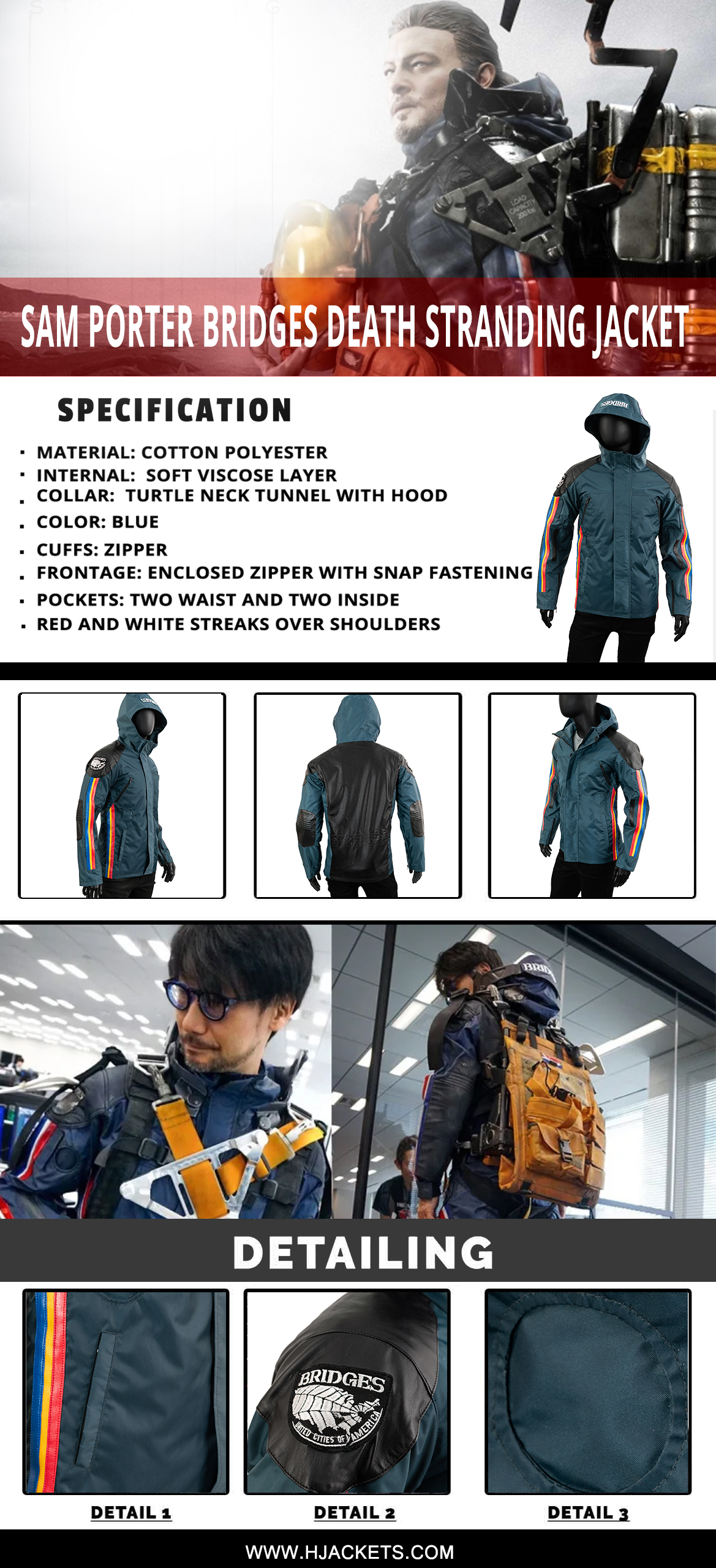 sam porter bridges death stranding jacket infographic