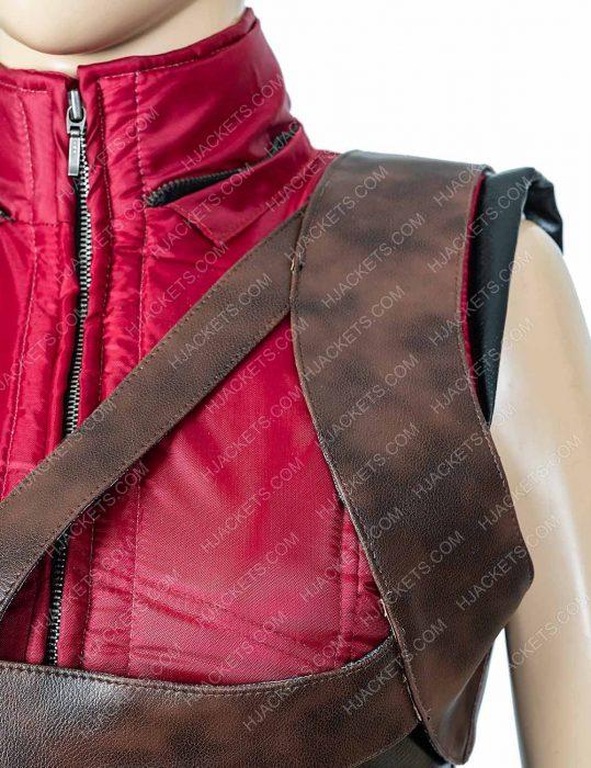 karen gillan jumanji martha red leather vest with hood