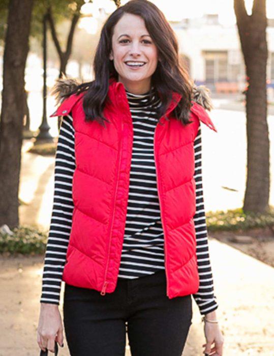 womens puffer vest fur hood