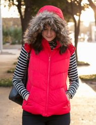 womens puffer vest with fur hood