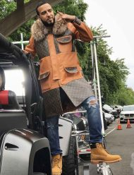 French Montana Brown Leather Coat