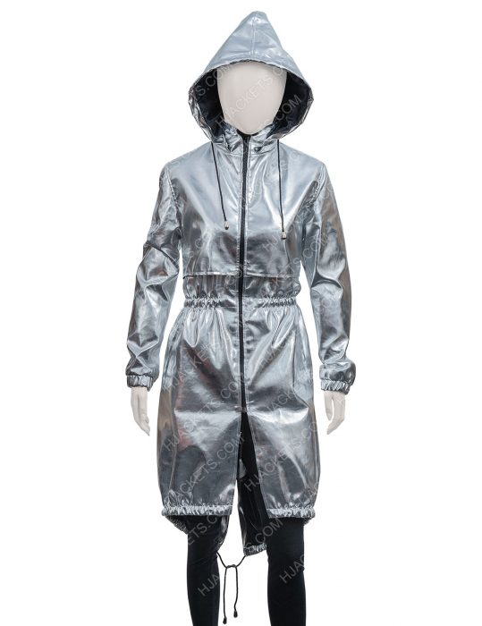 Feel The Beat Sofia Carson Silver Hooded Coat