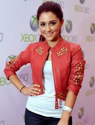 ariana-grande-red-leather-jacket