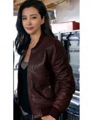 the-meg-bingbing-li-bomber-brown-leather-jacket