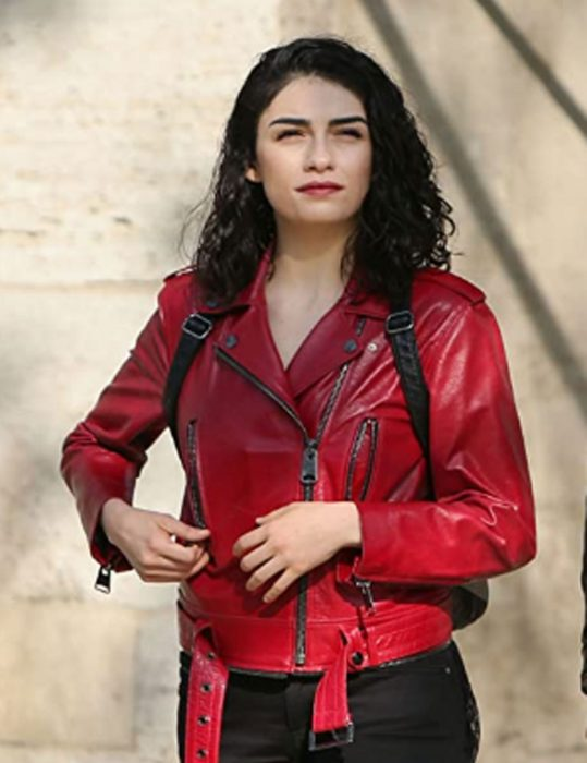 the protector zeynep erman red leather jacket