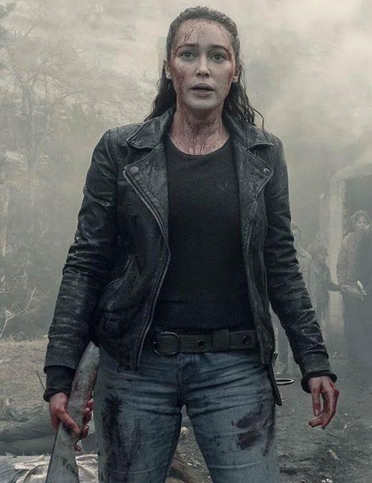 alycia debnam carey fear the walking dead alicia clark black leather jacket