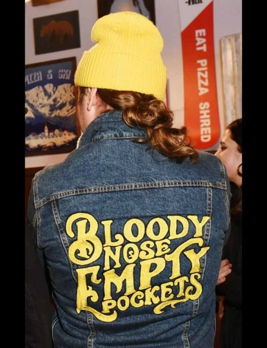bloody nose empty pockets black and blue jacket with patch