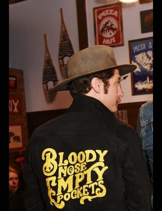 bloody nose empty pockets black jacket with patch